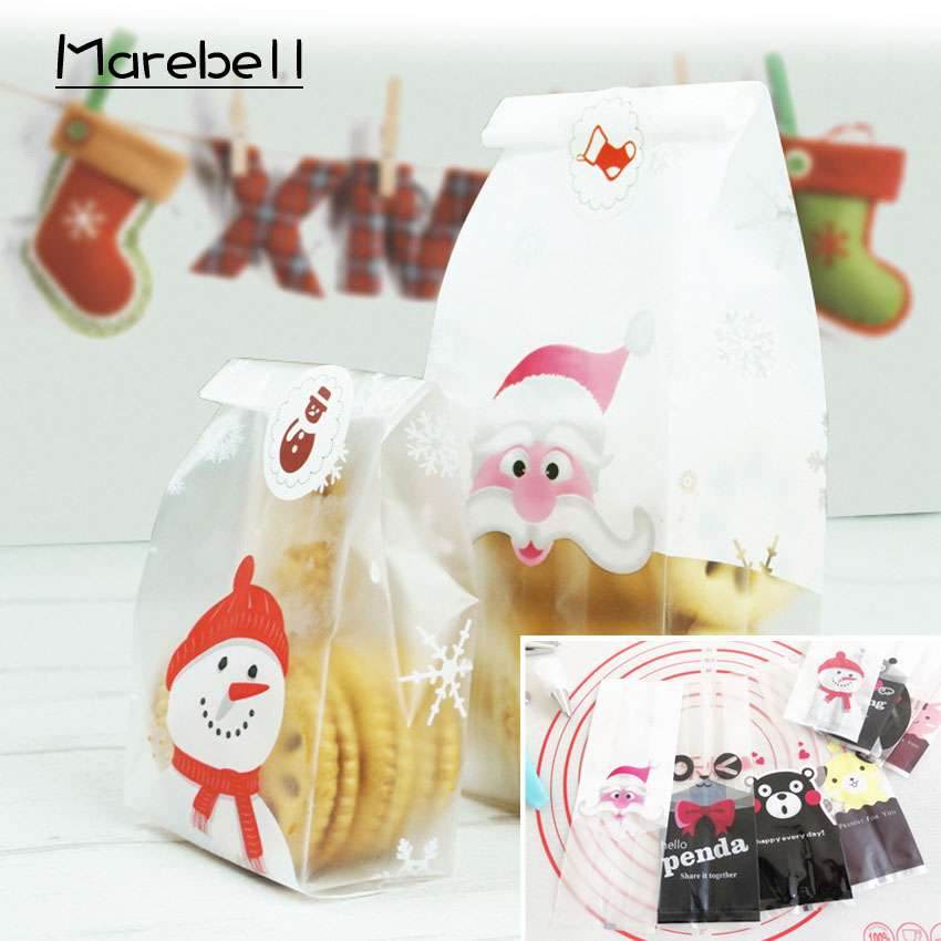 Marebell 30pcs Christmas Packing Bags For Cookies Sticky Paper Cartoon Santa Claus Party