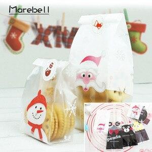 Image 1 - Marebell 30pcs חג המולד שקיות לאריזת עוגיות דביק נייר Cartoon סנטה קלאוס מסיבת ילדי של יום ביסקוויט אפיית אריזה