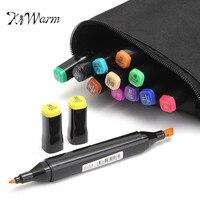 KiWarm Hot Sale 12 Colors Artist Marker Double Headed Sketch Alcohol Based Art Marker Pen Set