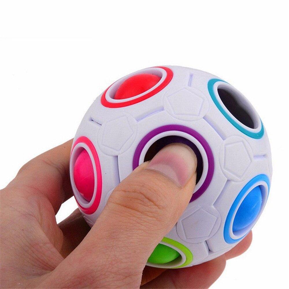 2017 * 2PCS Stress Reliever Magic Rainbow Ball Fun Cube Fidget Puzzle Education Toy