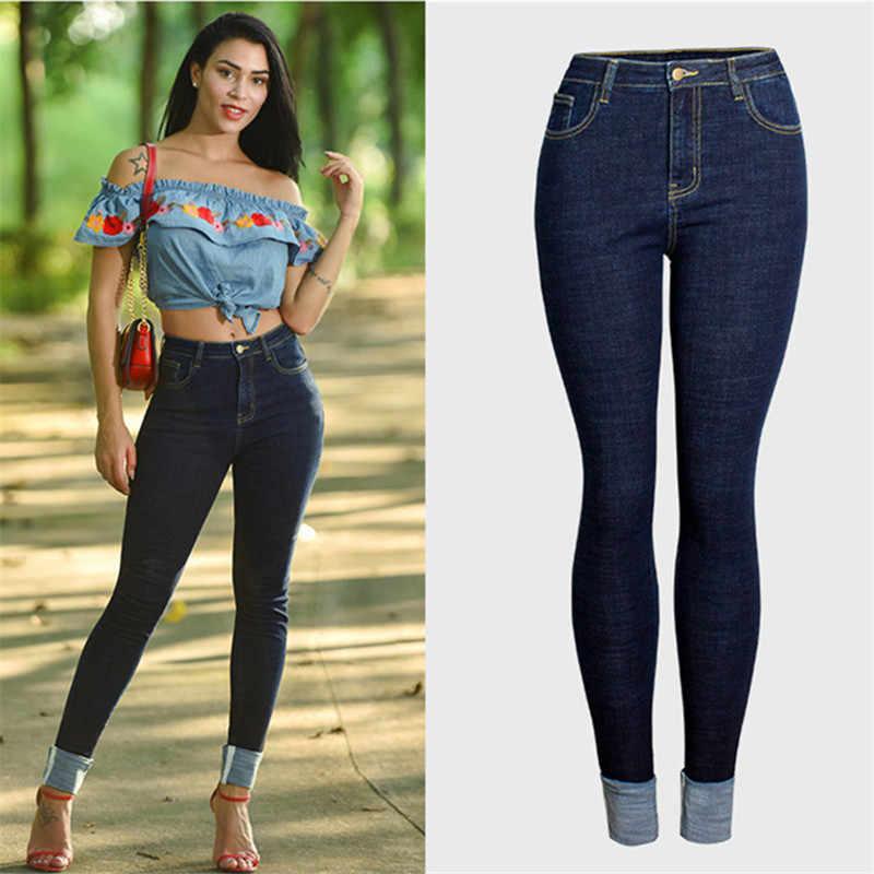 Talla Grande Novedad Jeans Mujer Skinny Sexy Pantalones Elastizados Lapiz Denim Cintura Alta Azul Jeans Pantalones Vaqueros Aliexpress