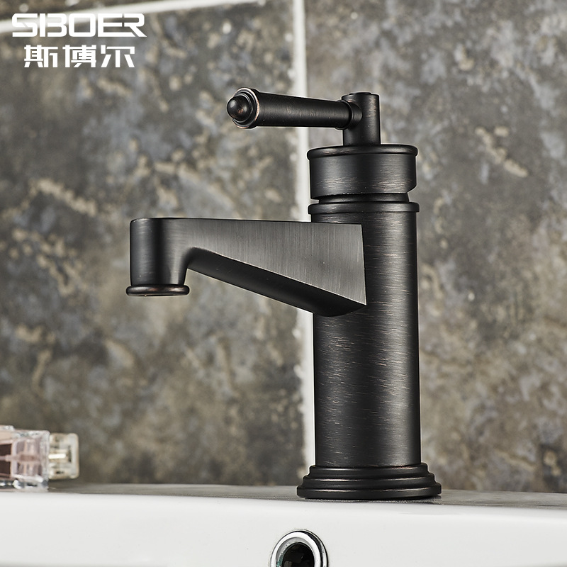 European Antique Kitchen Faucets Brass Brushed Black Basin Faucet Single Handle Single Hole Mixer Water Taps Cuisine RobinetEuropean Antique Kitchen Faucets Brass Brushed Black Basin Faucet Single Handle Single Hole Mixer Water Taps Cuisine Robinet