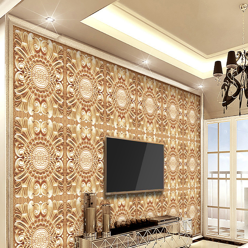 3D home decorating custom wallpaper european relief decorative pattern wallpaper TV background retro wallpaper modern home decor