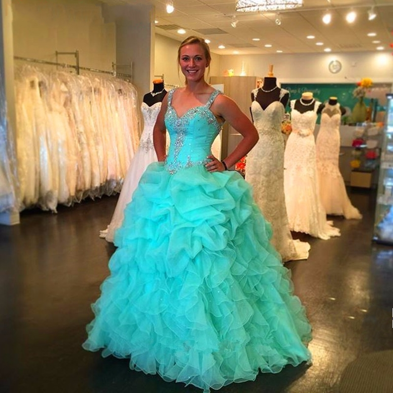 76c7af3cfe6 2016 New Pink Blue Ball Gown Quinceanera Dresses Bling Rhinestones Beaded  Organza Long Formal Party Gowns Robe De Quinceanera-in Quinceanera Dresses  from ...