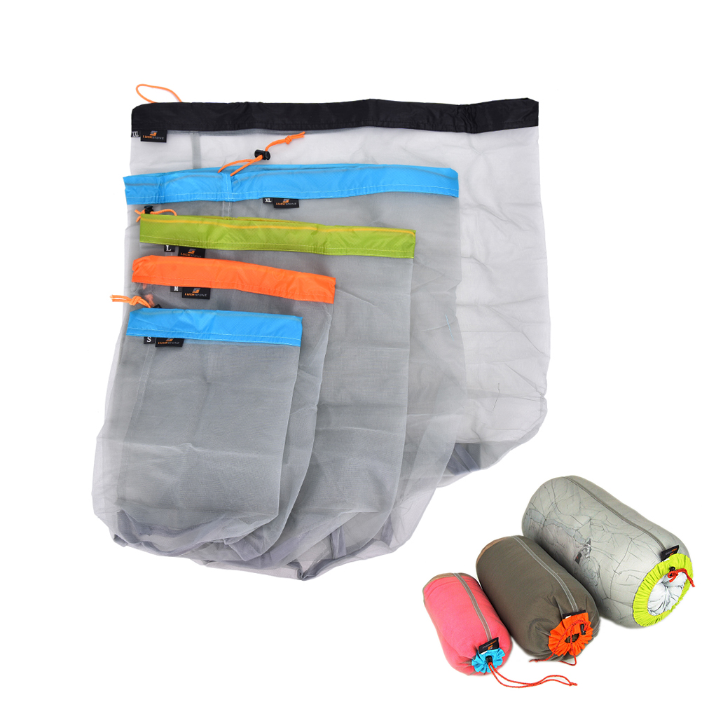 1Pc Portable Tavel Mesh Stuff Sack Drawstring Bag Travel Kit Accessories  5 Sizes