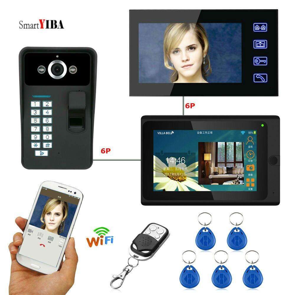 SmartYIBA Fingerprint RFID Password 7Inch Wifi Wireless Video Door Phone Doorbell Intercom 1 Camera 2 Monitor System APP Control
