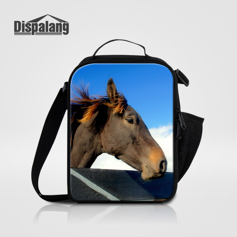 Dispalang Horse Print Portable Insulated Kids Lunch Bag Animal Thermal Food Picnic Lunch Bags Women Cooler Lunch Box Tote Bag