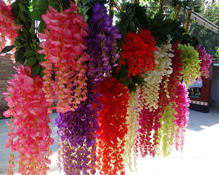 Intergards Wisteria flor artificial frijol ratán flor de vid - Para fiestas y celebraciones
