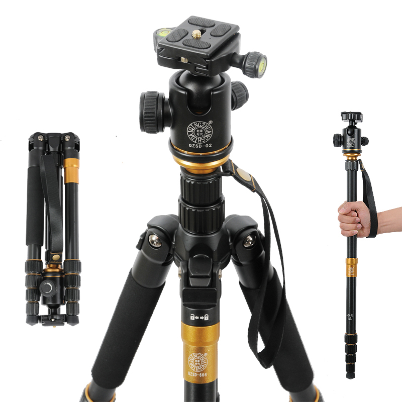 QZSD Q666 slr camera photographic tripod portable digital professional monopod Changeable Portable Compact Traveling qzsd q570 portable tripod professional camera tripod monopods for slr camera tripod head monopod changeable for slr dslr camera