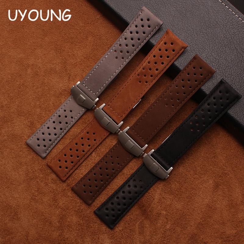 Correa de reloj de cuero genuino de calidad 22mm correa de matorral de nuevo patrón pulsera de accesorios de reloj marrón