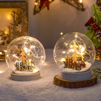 Christmas LED Lights Snow ball Artificial Crystal Healing Glass Ball New Year Decorations For Home Indoor Tree Navidad Gifts