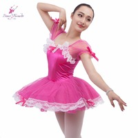 Hot Pink Satin Bodice Women Ballet Tutu, Stage Performance Adult Ballet Dance Costume Tutu