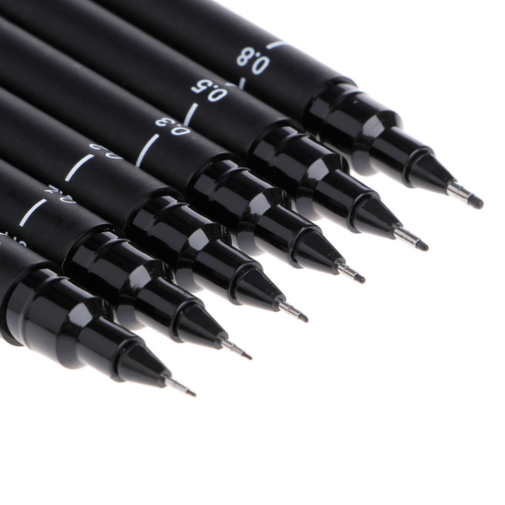 6PCS New Portable Drawing Ultra Fine Line Pen Good Chemical Resistant High Quality Pen Art Markers Hot Sale Drawing Pen in Art Markers from Office School Supplies