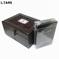 L TANG Waterproof PVC Poker With Wooden Box Black Plastic Playing Cards Novelty Collection Board Game