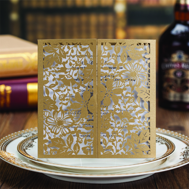 Design laser Cut Lace Flower Bird Gold Wedding Invitations Kit Paper Blank Convite Casamento Printing Invitation Card Invite square design white laser cut invitations kit blanl paper printing wedding invitation card set send envelope casamento convite