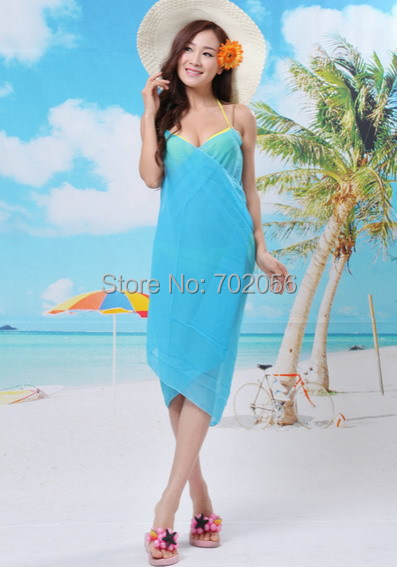 Trendy summer solid color beach dress  Swimwear clothes Bikini Veil shawl Wrap Sarong Sexy 20pcs/lot #3828