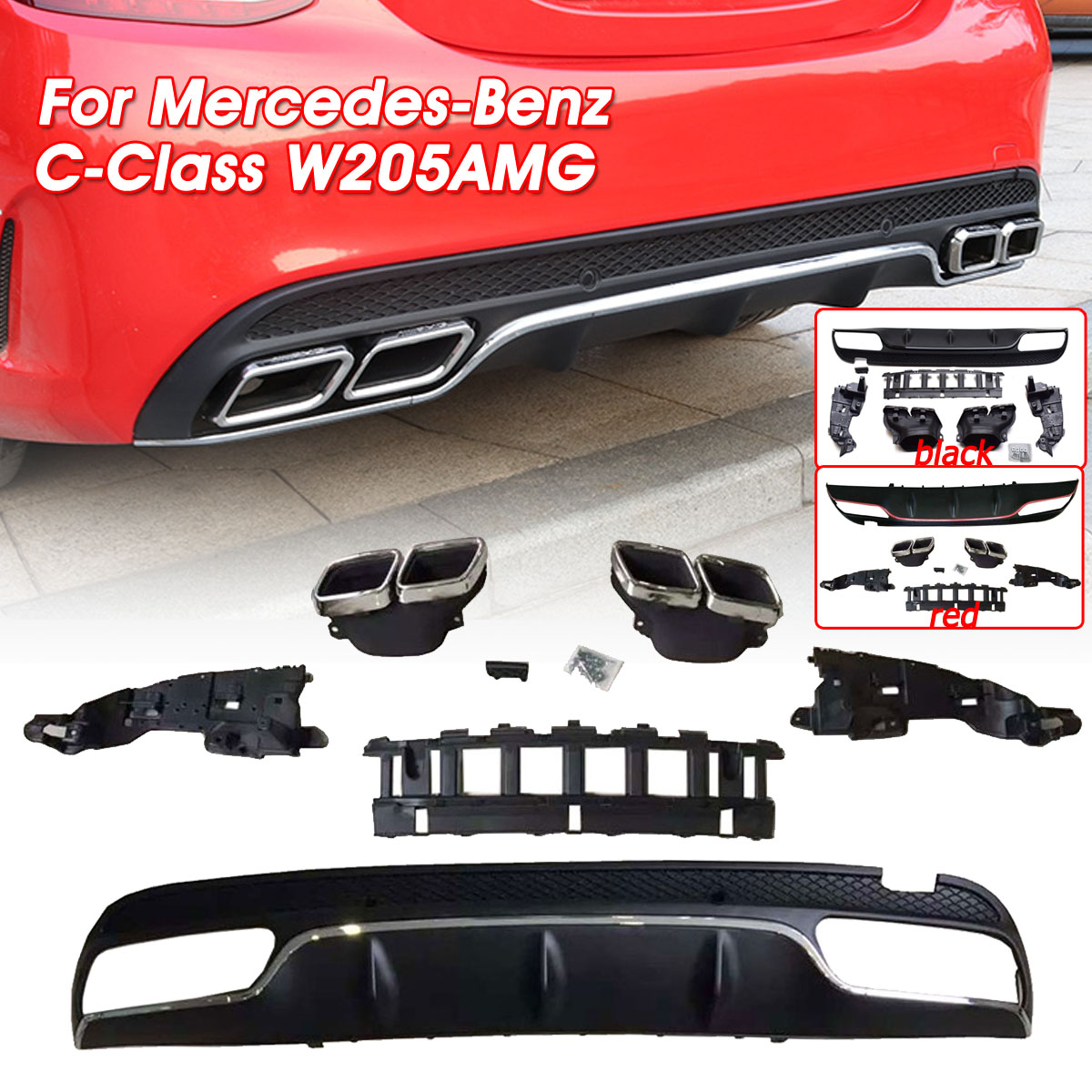 Autoleader C Class ABS Rear <font><b>Bumper</b></font> Diffuser Exhaust Muffler Tips Lip Spoiler For <font><b>Benz</b></font> C-Class <font><b>W205</b></font> Black/Red/Silver <font><b>Bumper</b></font> Guard image