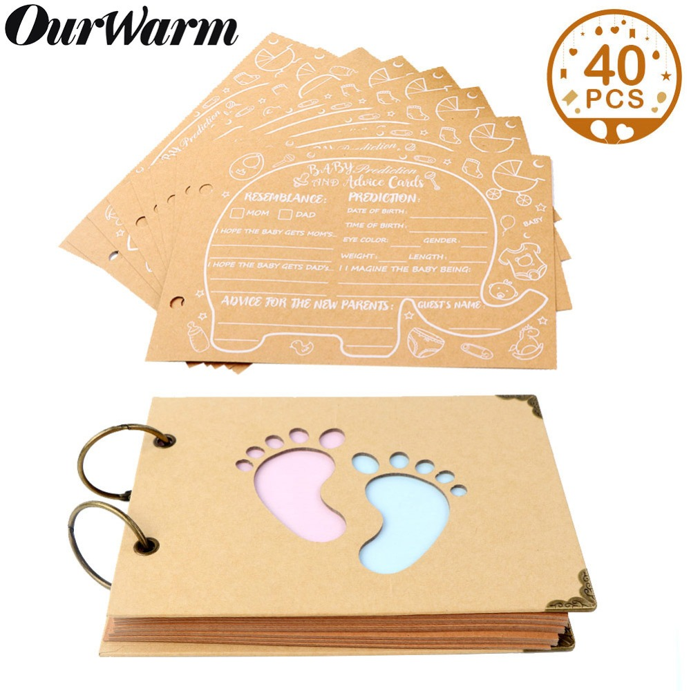 OurWarm Baby Shower Advice Cards Elephant Baby Shower Guest Book Sign in Book Birthday Guestbook Photo Ablums 19cm*14cm*2.1cm-in Party DIY Decorations from Home & Garden