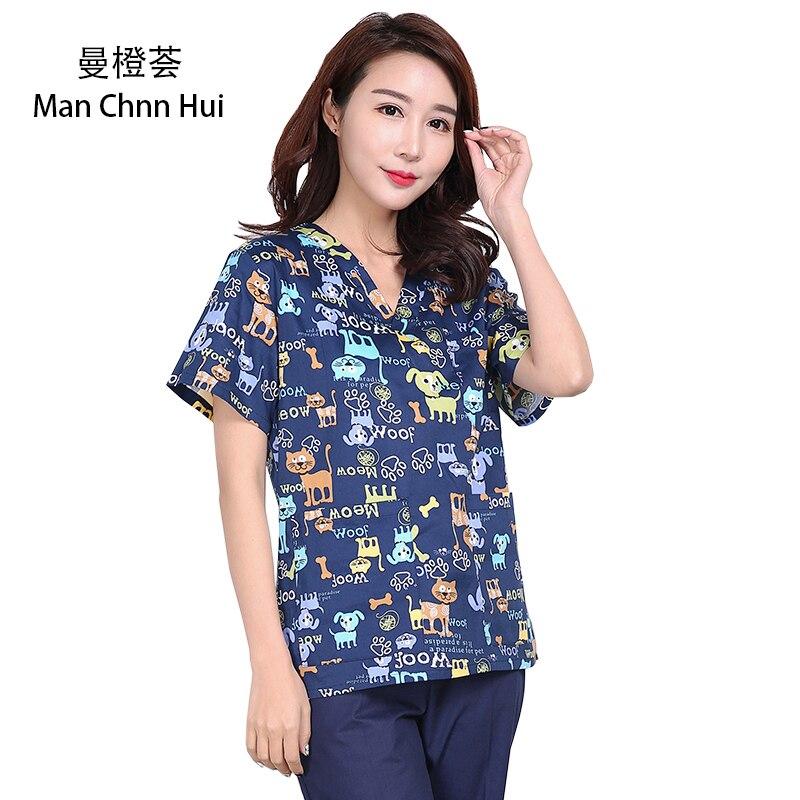 Veterinary Uniforms Scrub Tops Medical Scrubs Blue Flowers Dog Print Short Sleeve Scrub Pet Doctor Dental Nurse Costume Cotton