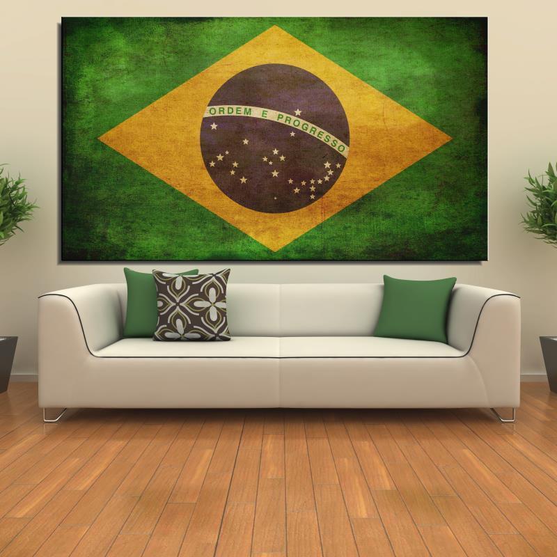 Brasil bandera Realista Pintura Al Óleo Digital Sin Marco Lienzo Sin ...