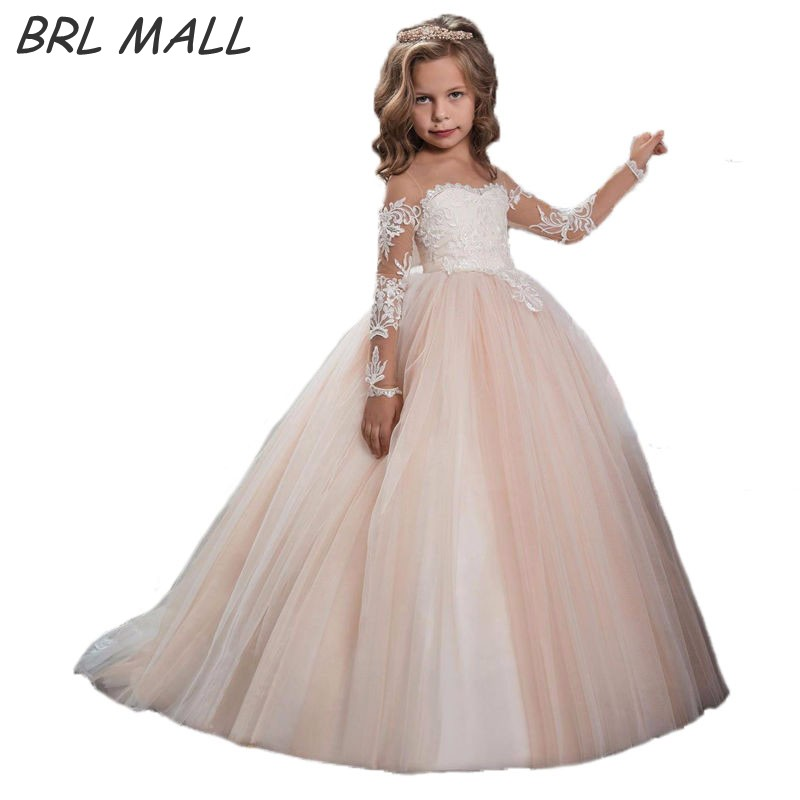 Cheap Long Sleeves Flower Girl Dress for weddings Lace appliques ...