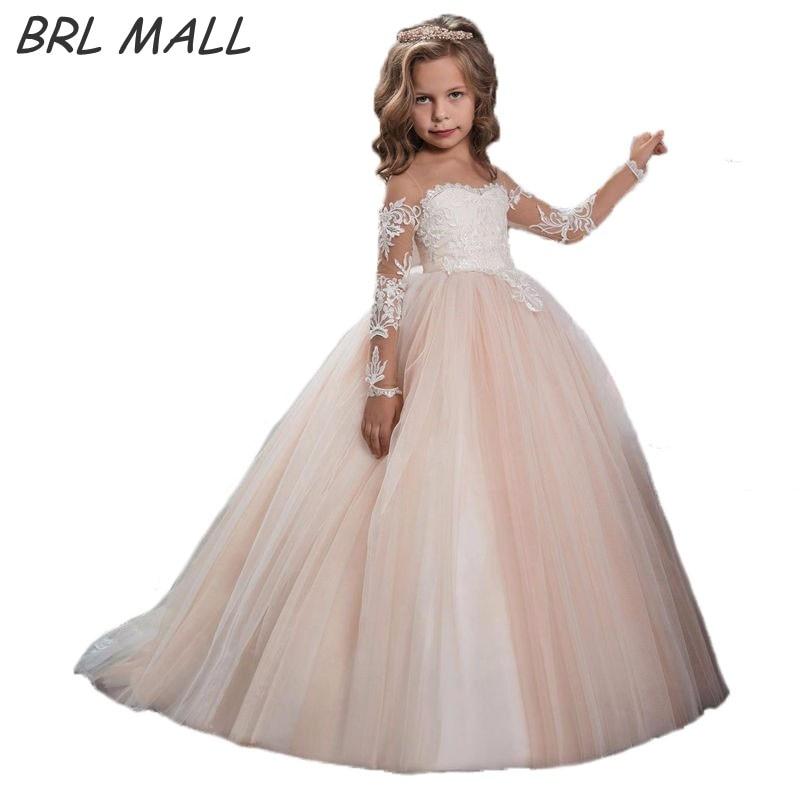Cheap Long Sleeves   Flower     Girl     Dress   for weddings Lace appliques Ball gown   Girls   Pageant   Dresses   vestidos de primera comunion