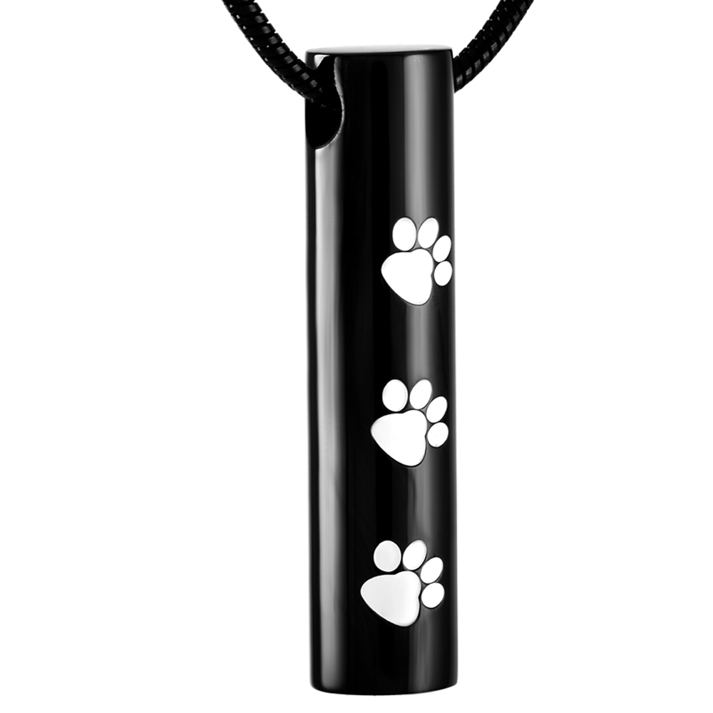 MJD2473 Cylinder Paw Prints Urn Keepsake For Pet Ashes Black Plating Cremation Jewelry Only pendant