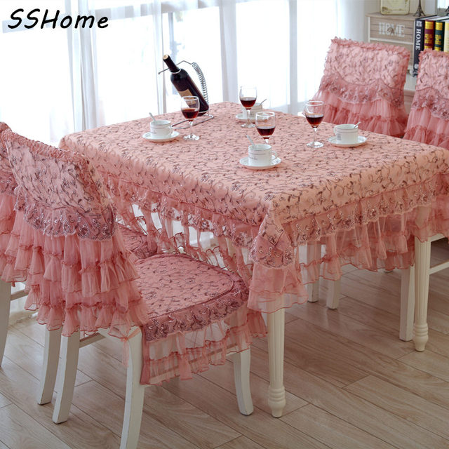 Quality Fashion Pink Rustic Lace Party Table Cloth Fabric Dining Chair Covers Runner Coffee