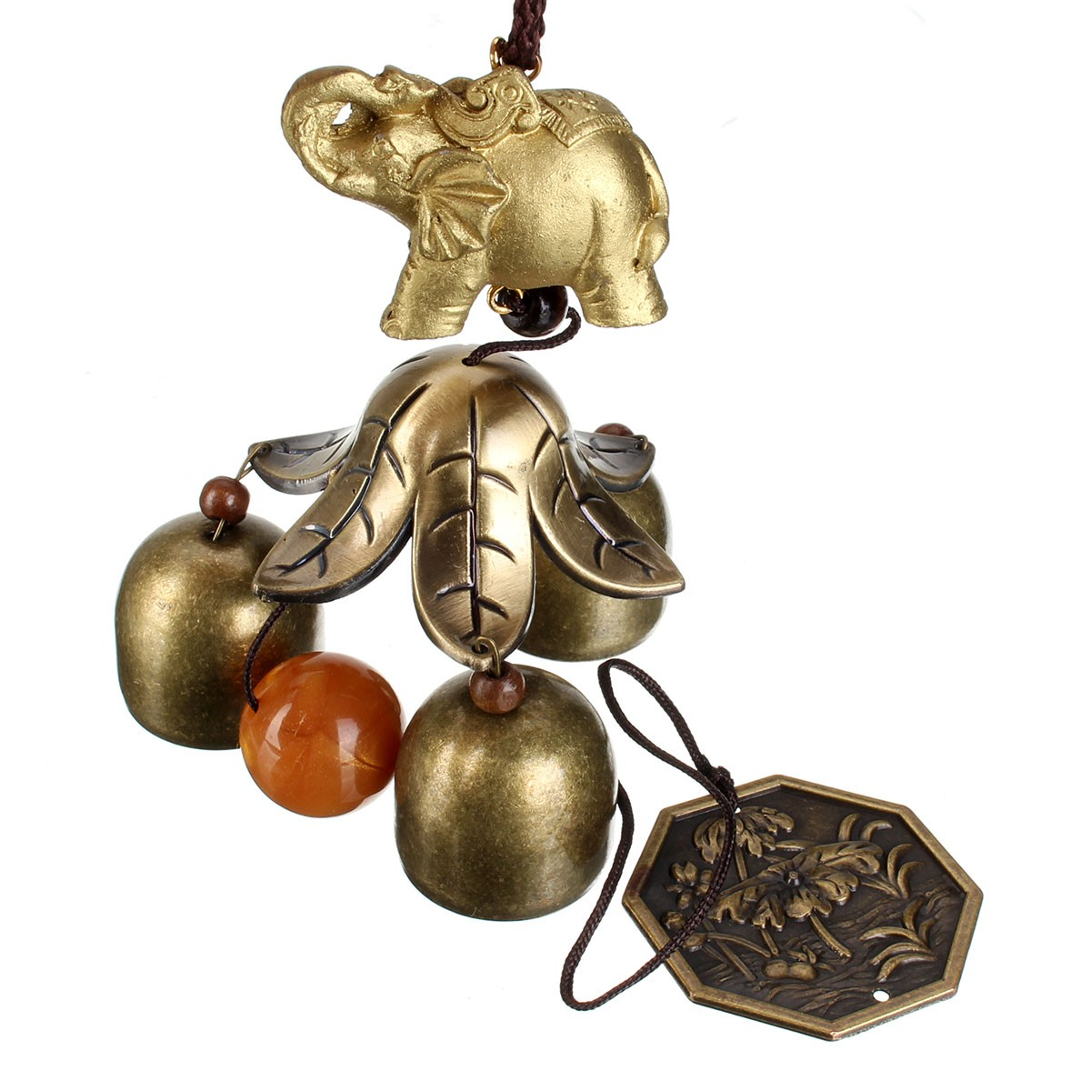 Chinese Oriental Lucky Metal Pagoda Hanging Wind Chime