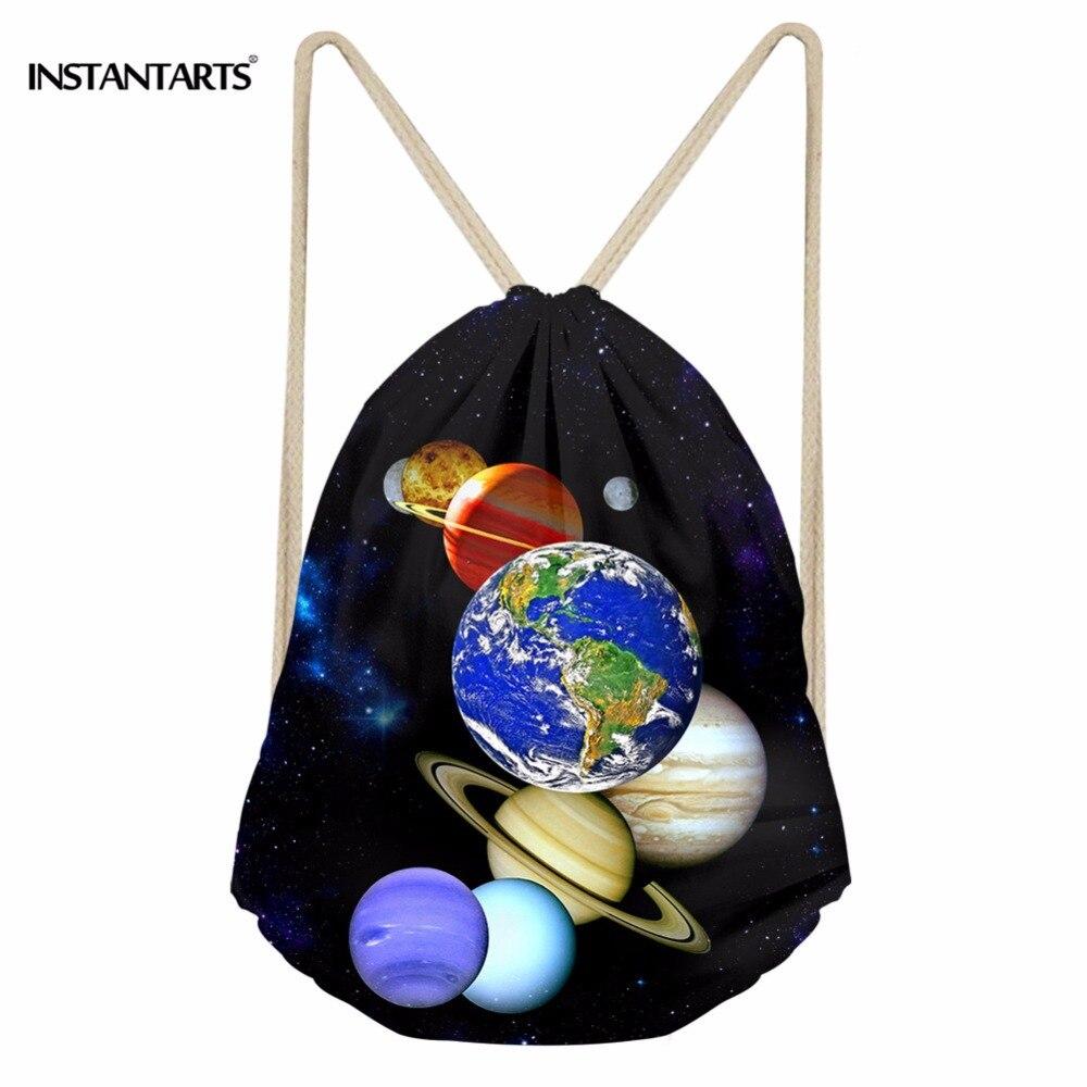 INSTANTARTS Universe Planet Print Portable Reusable Drawstring Bag Women Men's Travel Softback Backpack Small Woman Girl Satchel