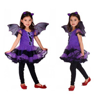 Fancy Masquerade Party Bat Girl Costume Children Cosplay Dance Dress for Kids Halloween Clothing Lovely Dresses