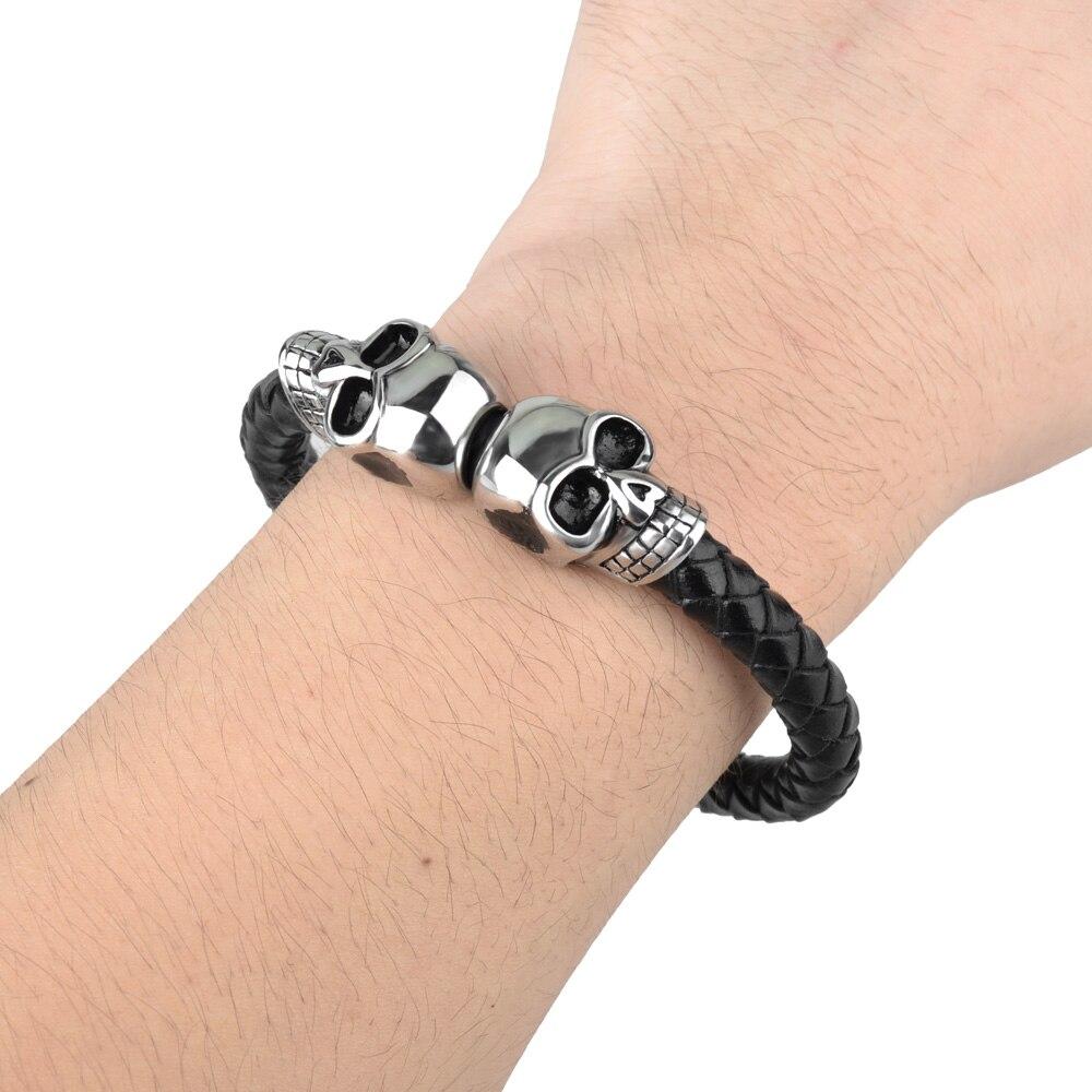 Kirykle mode Bracelet en cuir noir pour hommes bijoux Punk crâne en acier inoxydable perles Bracelet magnétique boucle breloque bijoux 6
