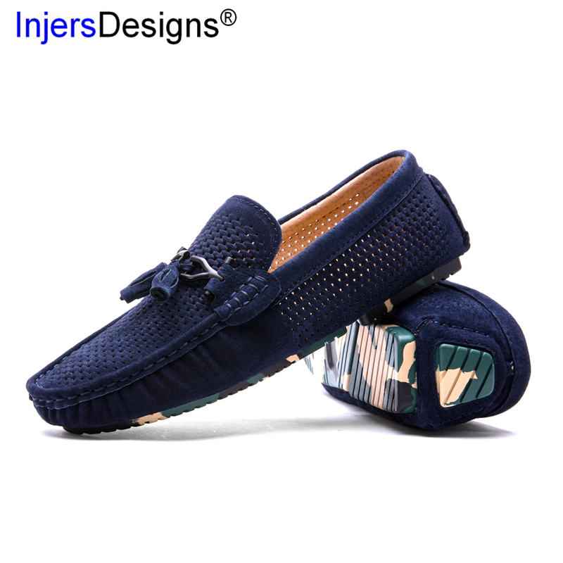 New Punching Breathable Loafers Summer Men Shoes Slip On Lazy Boat Shoes Men Soft Moccasins Fashion Light Casual Driving Shoes