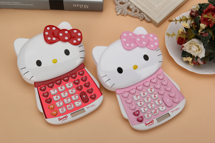 Hello kitty doll shape big cat slide calculator push cover computer dual power