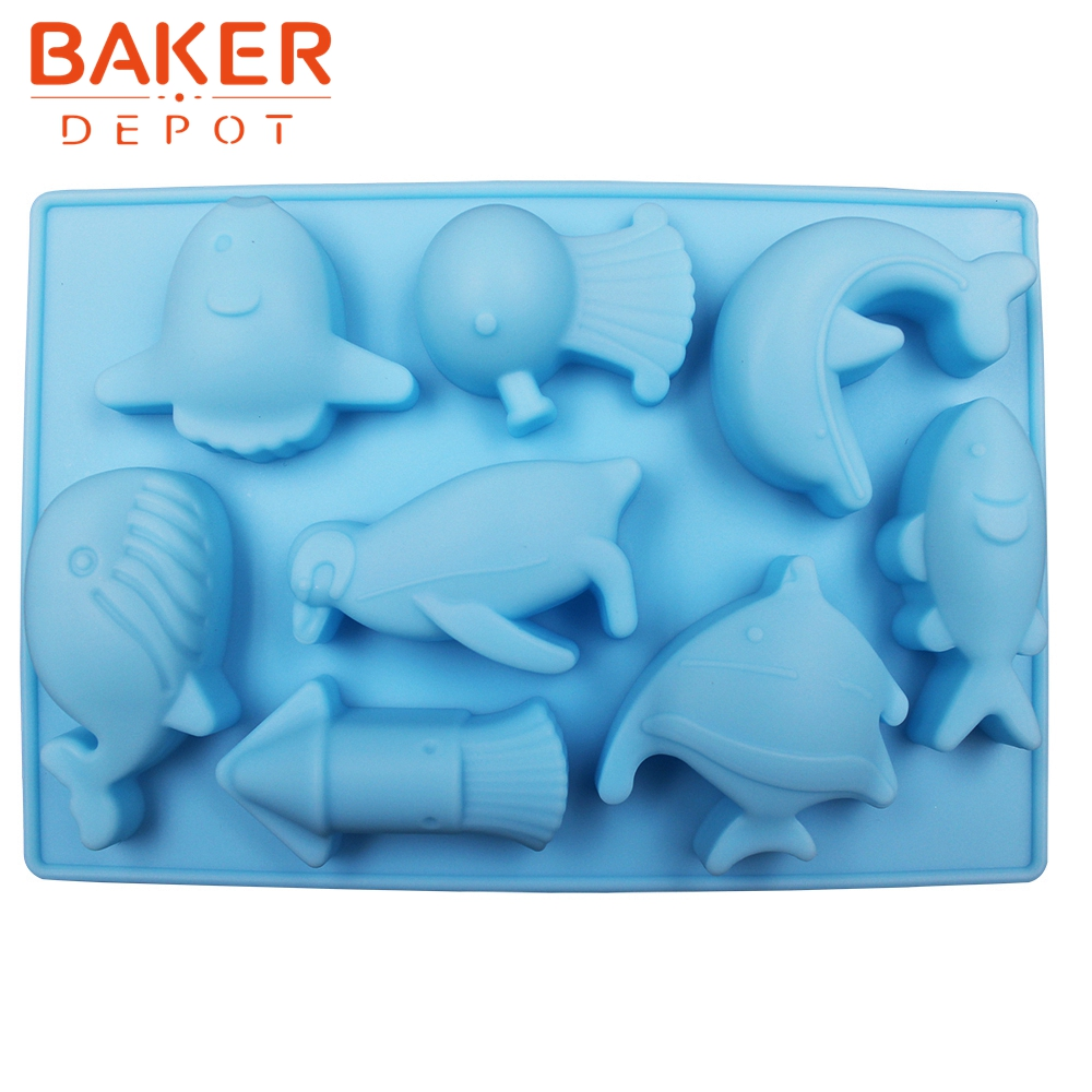BAKER DEPOT silicone mold for chocolate Sea World cake gummy biscuit pastry baking tool Dolphin fish candy cake decoration form image