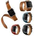 Extra longo pulseira de couro genuíno para apple watch série 2 banda dupla turnê real pulseira de couro faixa de relógio para apple relógio