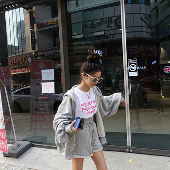 Women Autumn Cotton Solid 2two Piece Set Outfits Female Hooded Zipper Puff Sleeve Long Sweatshirts with Wide Leg Short Pants 4