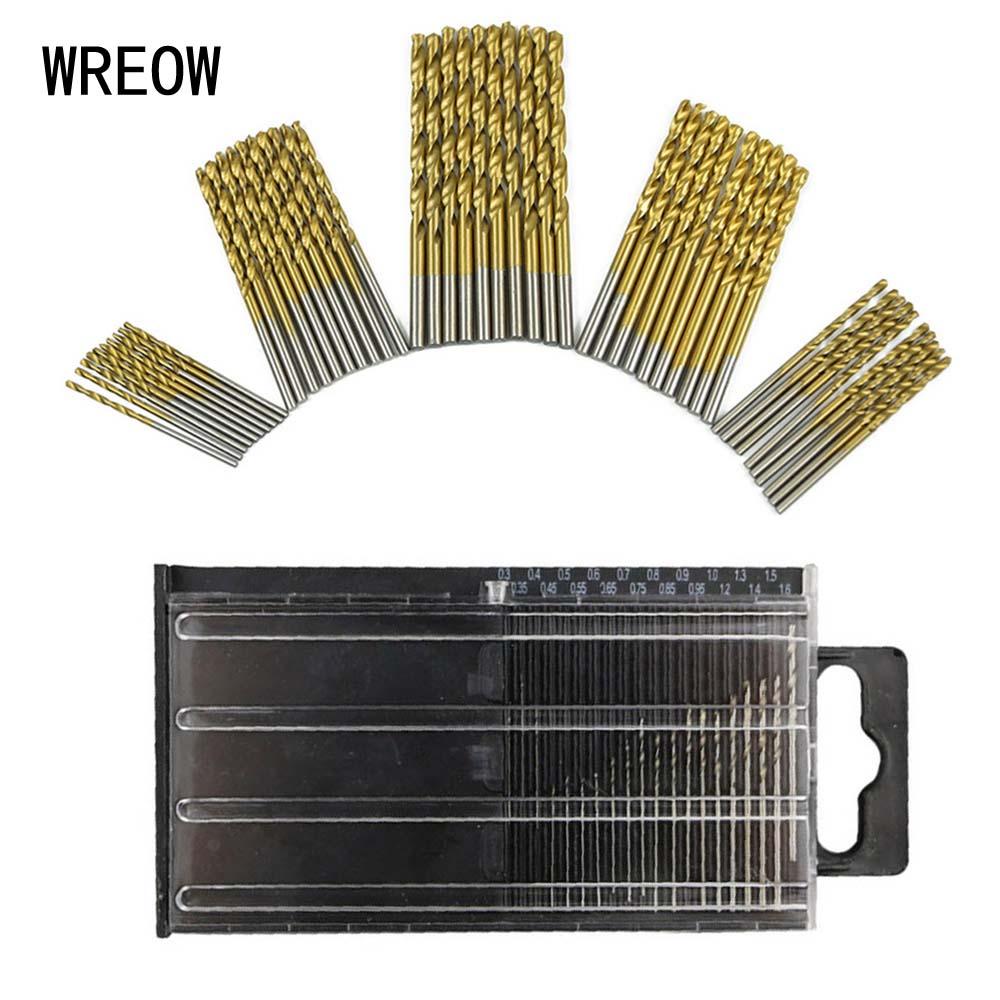 20pcs/50pcs Mini Drill Bit Set HSS Titanium Metal Twist Drill Bit Tools Kit Combination For Iron Plastics Perspex Woodworking