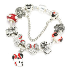 7b773717e BAOPON 2018 Hot Sale Fashion Handmade Mickey Minnie Charm Bracelets Fits  Pandora Bracelet For Women DIY Jewelry Dropshipping