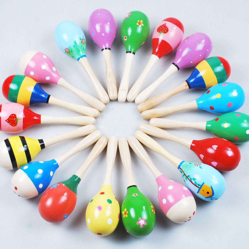 6Pcs Wooden Maraca Wood Rattles Kids Musical Party favor Child Baby shaker Toy Hot Baby Baby Rattles Mobiles
