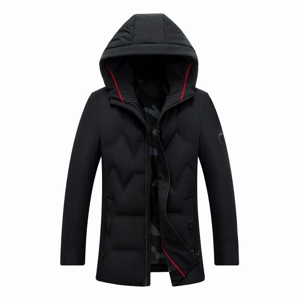 QUANBO 2019 Новая мужская теплая зимняя куртка простое модное пальто с капюшоном бизнес Дизайн Высокое качество утиный пух куртка мужская брендовая парка