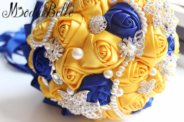Online Shop Modabelle Yellow Royal Blue Wedding Bouquets With