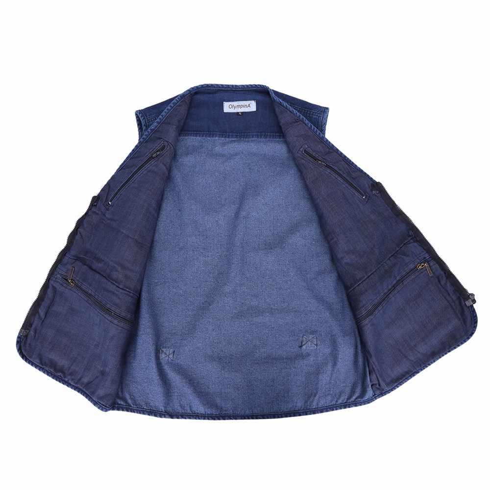 e846aed14c085 ... Denim Vest Men Cotton Sleeveless Jackets Blue Casual Fishing Vest with Many  Pockets Plus Size 10XL ...