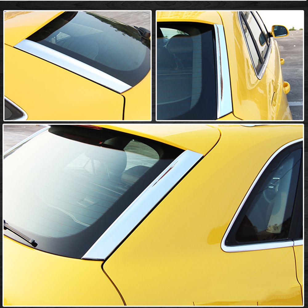 MONTFORD ABS Chrome Side Rear Window Spoiler Cover Trims Molding Garnish Decoration For Audi Q3 2013 2014 2015 2016 2017 2018