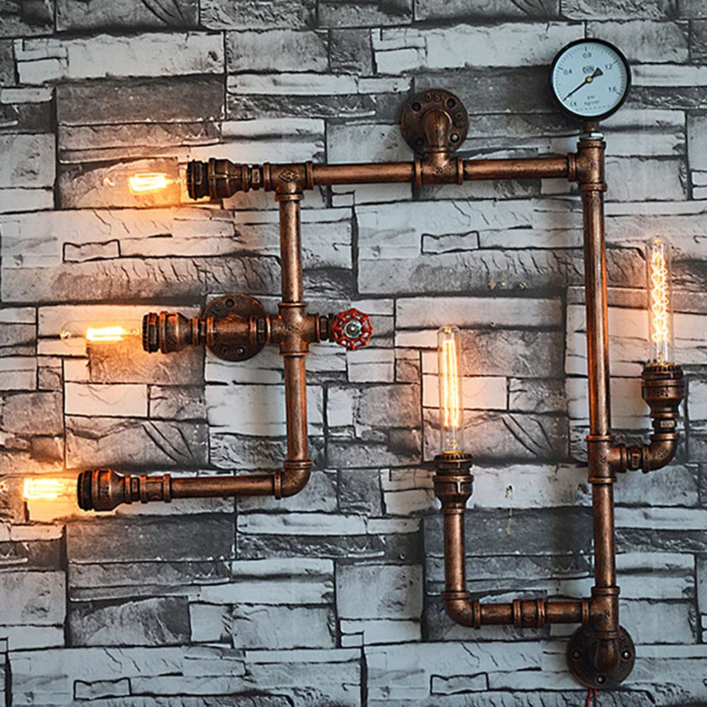 5 Heads Water Pipe Steampunk Vintage Wall Lights For Dining Room Bar Home Decoration American Industrial Loft E27 Wall Sconce american country industrial style wall lights loft 3 heads water pipe wall sconce vintage bronze wall lamp iron art lustre