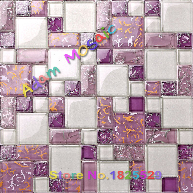 Purple Tile Backsplash Glass Mosaic Art Kitchen Tiles Crackle Bathroom Wall Frosted Shower Deco Floral Paint