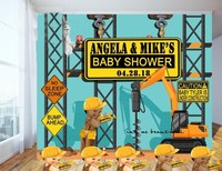 custom Construction Baby Blue Shower Caution Candy photo backdrop High quality Computer print party background