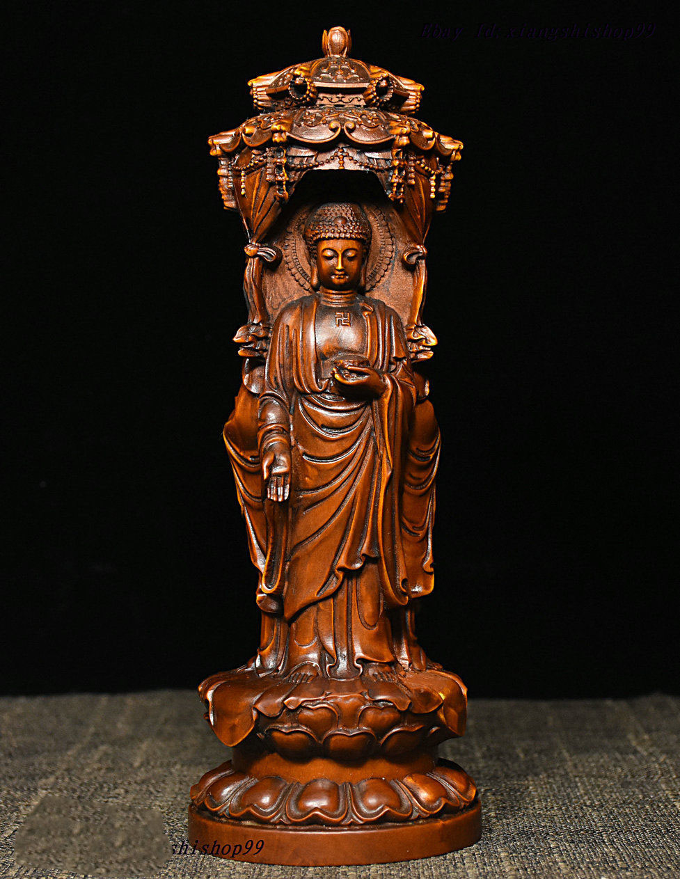 Свадебные украшения Китайский буддизм Boxwood Carve Shakyamuni Kwan yin Guan Yin 3 статуя Будды