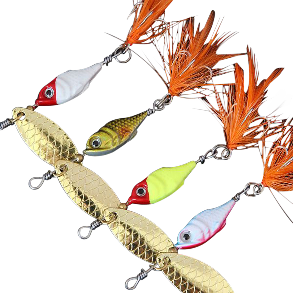 5pcs set artificial baits metal spinner soft fish bait for Fly fishing lure