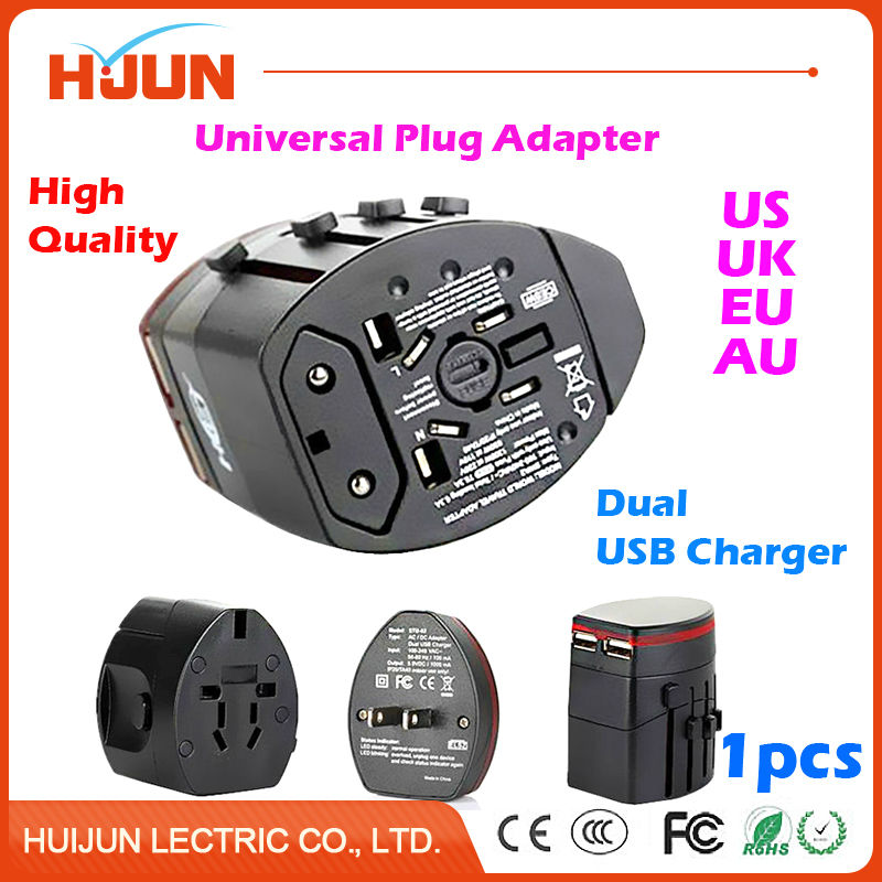 1Pcs Universal International Power Plug Adapter Socket for US UK EU AU Plug Travel Wall Converter with Dual USB Charger Black all in one universal international plug adapter 2 usb port world travel ac power charger adaptor with au us uk eu converter plug